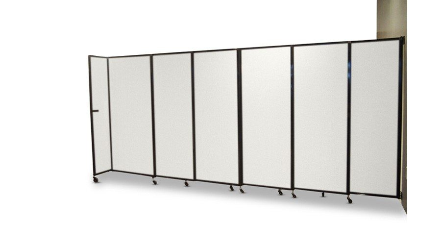 Sliding Room Partition, Wall Mountable, partially open.