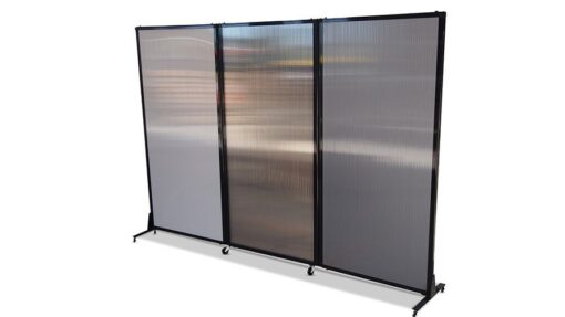 Afford-A-Wall Folding Room Divider on wheels, 3 x polycarbonate panels, stright line configuration