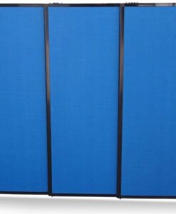 Afford-A-Wall Sliding Mobile Room Divider with feet, navy blue fabric, 3-panels fully extended