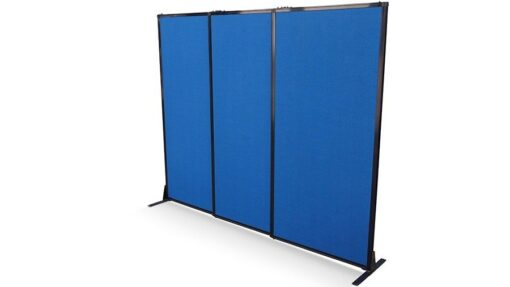 Afford-A-Wall Sliding Mobile Room Divider on feet, navy blue fabric, 3-panels fully extended