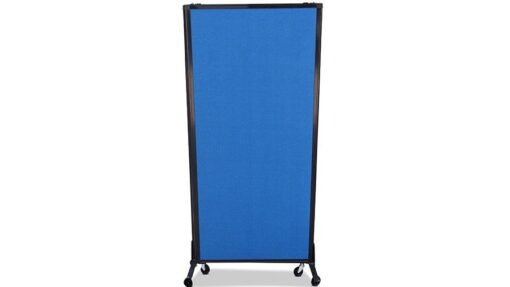 Afford-A-Wall Sliding Mobile Room Divider on wheels, navy blue fabric, 3-panel unit fully folded down for storage