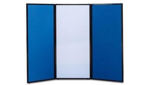 Afford-A-Wall Folding Room Divider, navy blue fabric and white polycarbonate panels, curved configuration