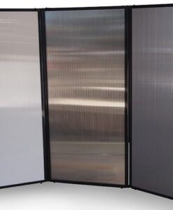 Afford-A-Wall Folding Room Divider, polycarbonate panels, curved configuration