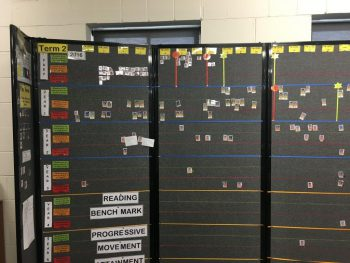 data wall with black background facing front