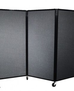 Afford-A-Wall Folding Mobile Room Divider Black Fabric