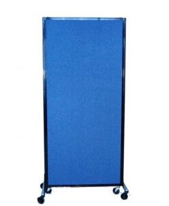 Afford-A-Wall Folding Mobile Room Divider Blue Fabric