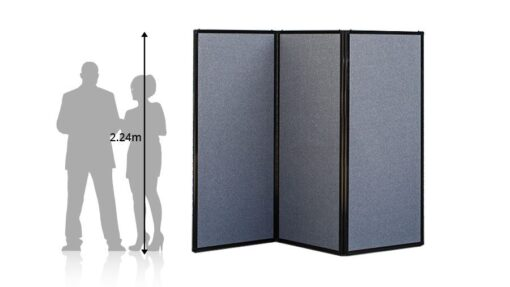 Freestanding Portable Privacy Screen Grey Fabric