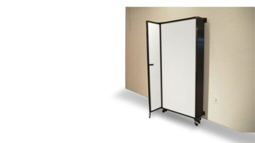 Sliding Room Partition, Wall Mountable, folded and stacked flat to wall.