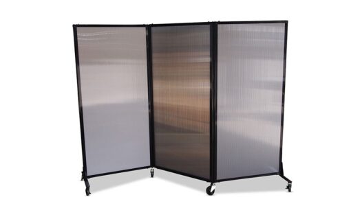 Afford-A-Wall Folding Room Divider on wheels, 3 x polycarbonate panels, zig-zag configuration