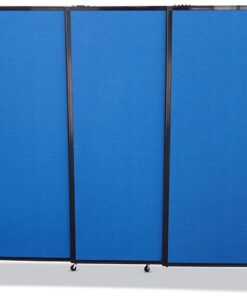 Afford-A-Wall Sliding Mobile Room Divider on wheels, navy blue fabric, 3-panels fully extended