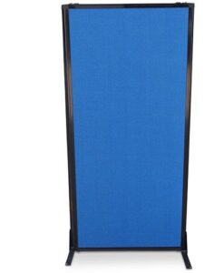 Afford-A-Wall Sliding Mobile Room Divider, navy blue fabric, fully folded down for easy storage