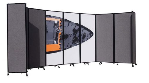 360 Folding Portable Room Divider, Charcoal Fabric with custom artwork