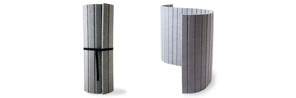 Sound dampening room divider, charcoal fabric