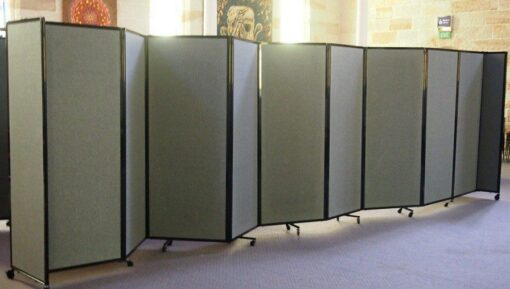 Folding Mobile Room Divider, 9-panel, Charcoal fabric panels, 1.83m H x 7.62m L.