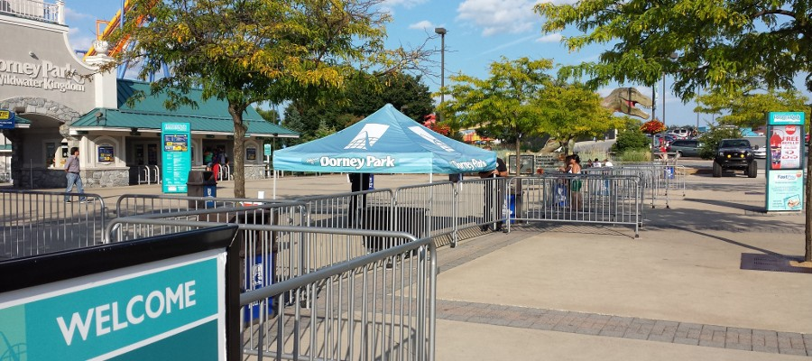 Portable Steel Barricade linked and used as temporary fencing at thempark
